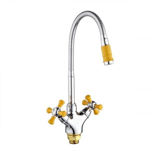 Смеситель для кухни с высоким изливом, желтый/хром, SL92GR-279F, РМС