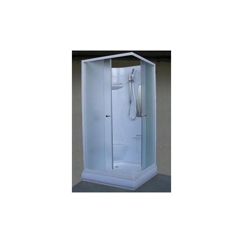Душевая кабина 80x80 квадратная, матовое стекло, белый профиль, Neva, River