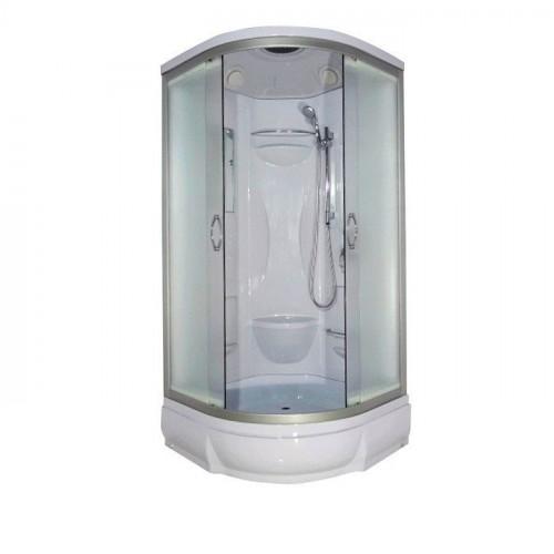 Душевая кабина 90x90 полукруглая, матовое стекло, профиль матовый хром, Rein, River