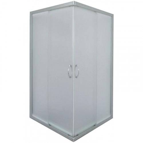 Душевое ограждение 90x90 квадратное, тонир. стекло, мат. хром профиль, Morava, River