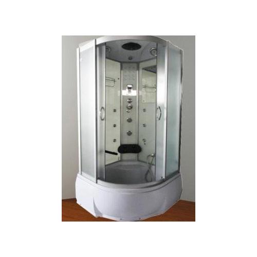 Душевая кабина 90x90 полукруглая, матовое стекло, профиль матовый хром, с гидромассажем, Temza, River