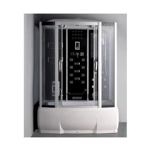 Душевая кабина 150x80 прямоугольная, матовое стекло, профиль матовый хром, с гидромассажем, Wisla, River