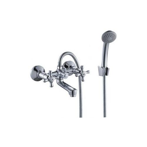 Смеситель для ванны двуручный, короткий излив, Rossinka H02-81