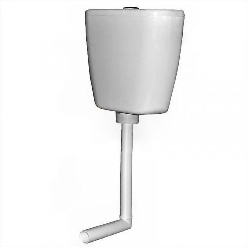 Бачок пластиковый среднего расположения, арматура кнопка, жесткая труба 36*21 см D40, Киров