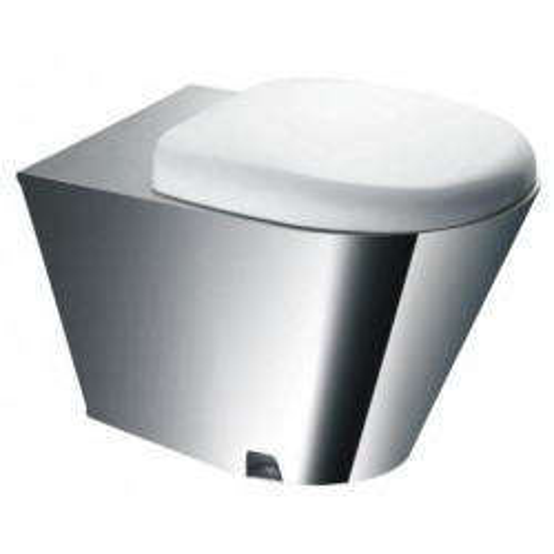 Унитаз напольный с водяным баком и металлическим сиденьем