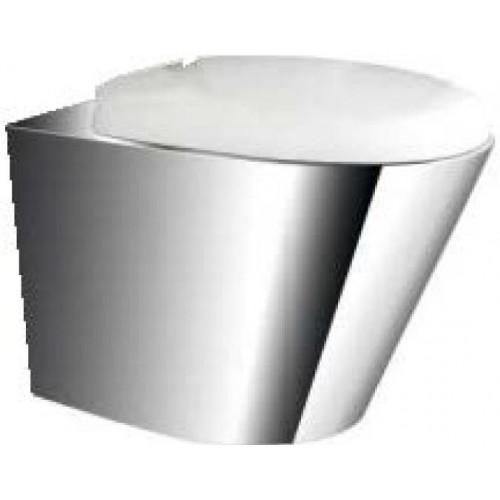 Унитаз MOEFF подвесной из нержавеющей стали c сиденьем из пластика