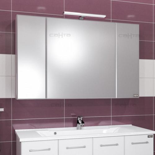 Зеркальный шкаф Стандарт 120 со светом, СаНта
