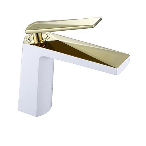 Смеситель для умывальника Venturo, белый+золото, Boheme 381-W