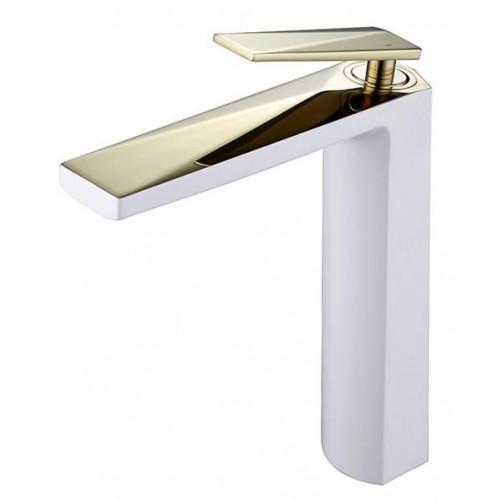 Смеситель для умывальника высокий Venturo, белый+золото, Boheme 382-W