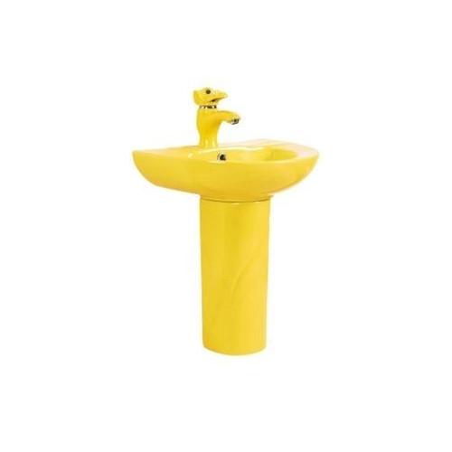 Детская раковина Gid Nb192y с пьедесталом желтая