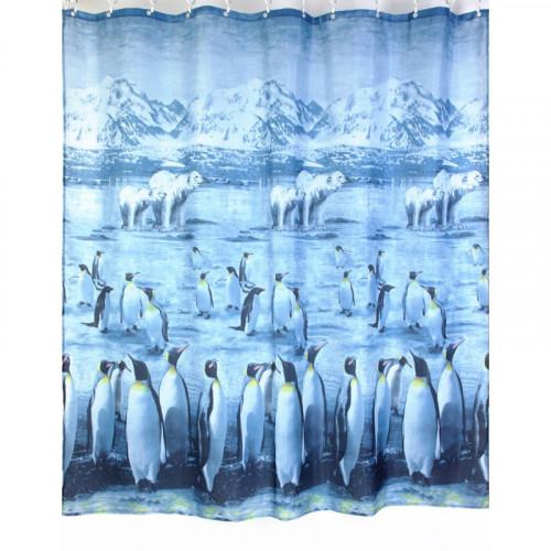 """Шторка для ванной """"Пингвины и медведи"""" (арт.ZJ110 Polar)180х200 без колец (PL), Zalel"""