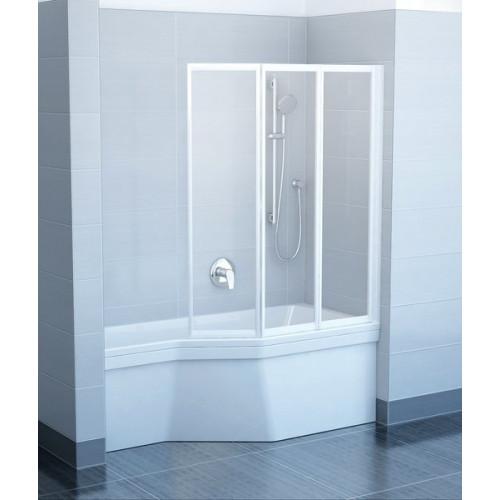 Шторка на ванну VS3 130x140, белый, Transparent, Ravak