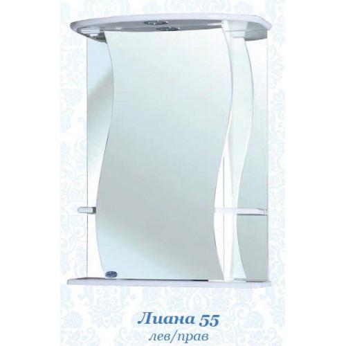 Лиана-55 зеркало шкаф, 55 см, белое, левое, правое, Bellezza