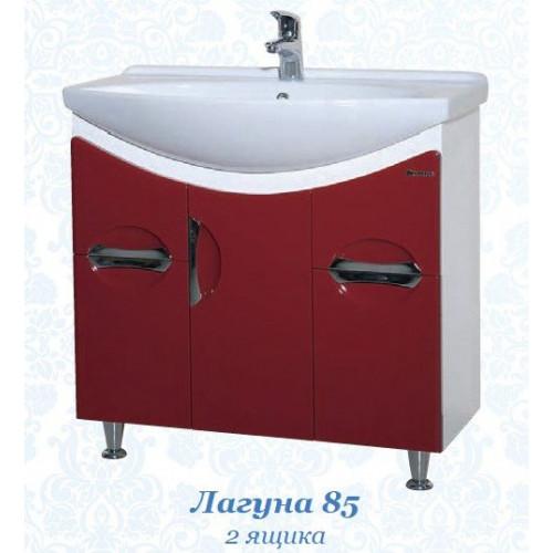 Лагуна-85 тумба с раковиной, 83 см, красная, черная, бежевая, голубая, Bellezza