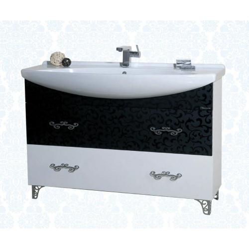 Маргарита-120 тумба с раковиной, 117.5 см, комбинированная белая черная, Bellezza