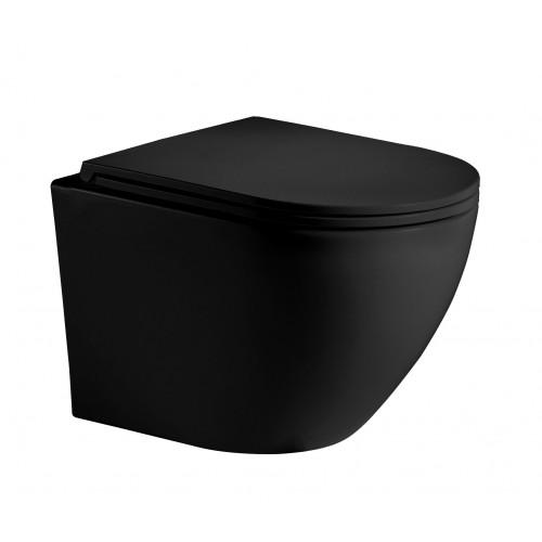 Унитаз подвесной безободковый черный матовый Welt Wasser MERZBACH 004MT-BL
