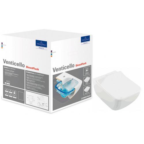 Унитаз подвесной с сидением Villeroy & Boch Venticello 4611RS Альпийский белый CeramicPlus SlimSeat (Wrapover)
