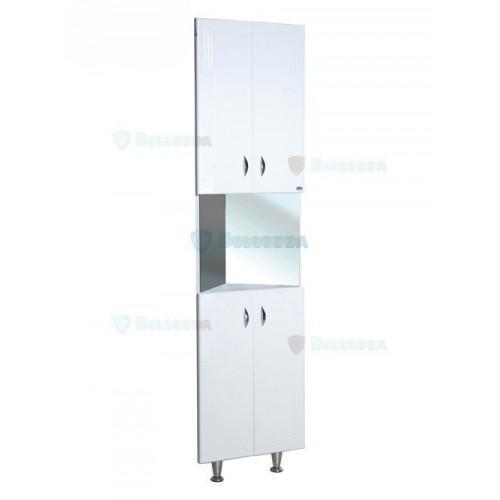 Тина шкаф пенал угловой с зеркалом, 35 см, белый, Bellezza