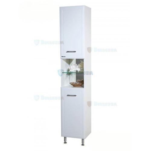 Коралл-35 шкаф пенал, 35 см, белый, с бельевой корзиной, левый, правый, Bellezza