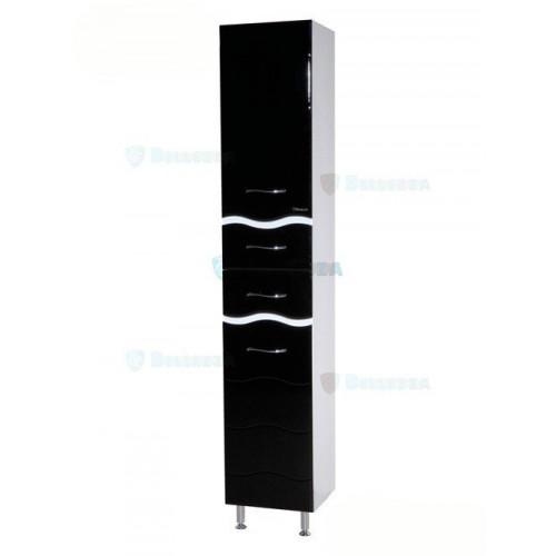 Мари-35 Волна шкаф пенал, 35 см, белый, с бельевой корзиной, левый, правый, Bellezza