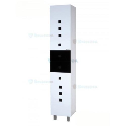 Натали-35 шкаф пенал, 35 см, комбинированный черный, красный, синий, розовый, с бельевой корзиной, левый, правый, Bellezza