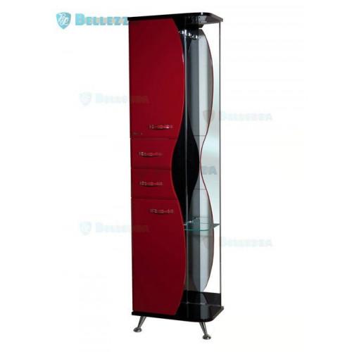 РИО-50 шкаф пенал с зеркалом, 50 см, красный, черный, левый, правый, Bellezza