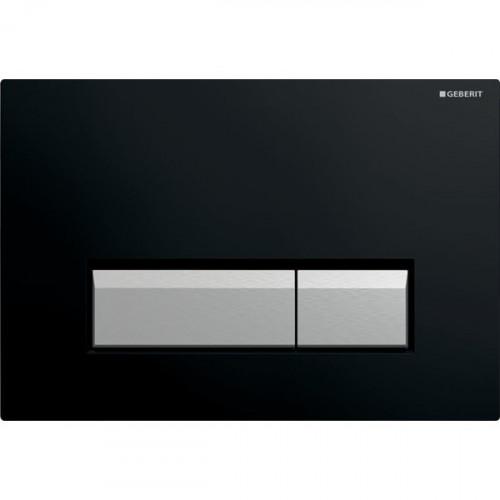 Смывная клавиша Geberit Sigma40, двойной смыв, со встроенной очисткой воздуха, черный/матовый алюминий