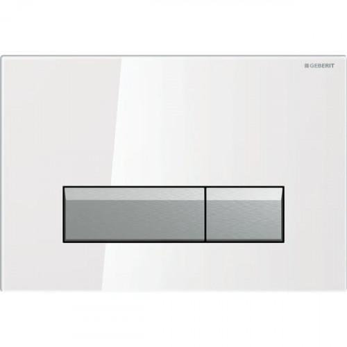 Смывная клавиша Geberit Sigma40, двойной смыв, со встроенной очисткой воздуха, стекло белый/матовый алюминий