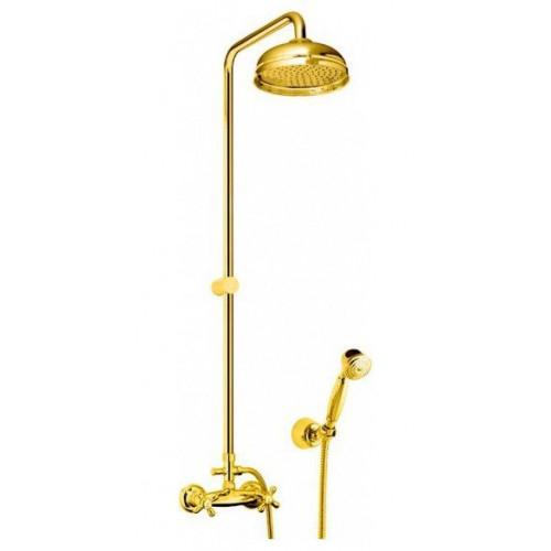 Душевая система , смеситель с верхним и ручным душем, золото, Margot, Fiore