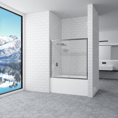 Шторка для ванной матовое стекло 180х150 см, RGW, SC-043