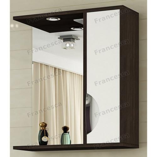 Шкаф-зеркало Версаль 50 С правое белый/венге Francesca