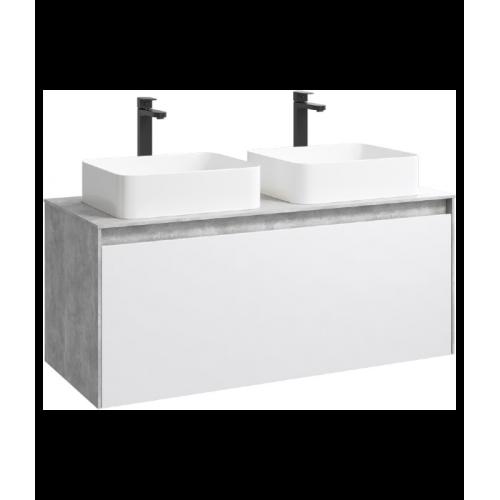 Подвесная тумба 120 см для умывальника Aqwella 5 Stars Mobi бетон светлый/белый