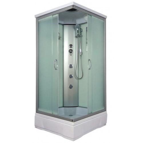 Душевая кабина 80x80 квадратная, матовое стекло, Quadro, River