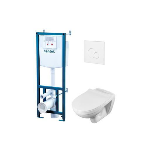 ПЭК Santek Бореаль 1WH302464 подвесная чаша + инсталляция +сиденье+панель бел. цвета