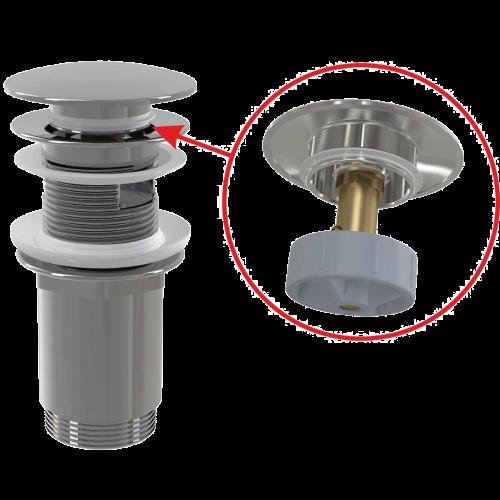 """Донный клапан Alca Plast A392C click/clack 5/4"""", с переливом и большой хромированной заглушкой"""