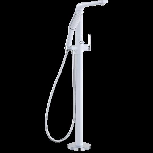 Смеситель для ванны напольный белый Ganzer Haiger GZ 52081F