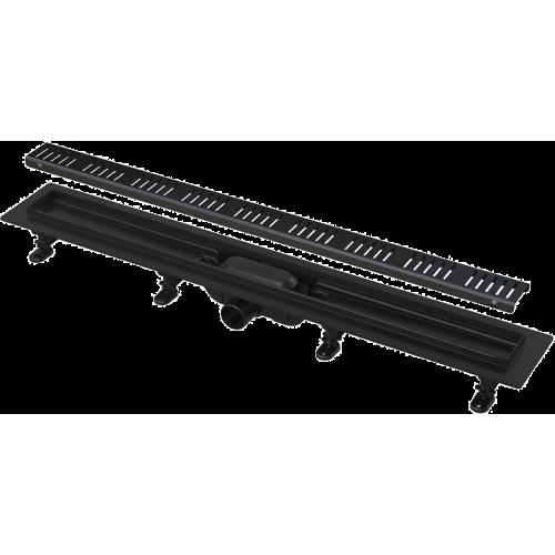 Водоотводящий желоб Alca Plast APZ10BLACK SIMPLE с порогами для перфорированной решетки черный-мат